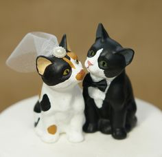 Miss Kitty and Mr. Right cat wedding cake topper. Handmade and custom painted by CakeTopz on Etsy