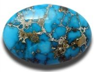 turquoise oval cabochon; with veins
