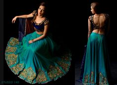For more stunning pieces, visit Studio 149 by Swathi at Indian Lehenga, Lehenga Choli, Sharara, Sarees, Fairytale Dress, Indian Outfits, Indian Clothes, Half Saree, Boho Gypsy