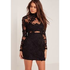 Missguided High Neck Embroidered Lace Bodycon Dress ($72) ❤ liked on Polyvore featuring dresses, black, zip back dress, embroidery dress, high neckline dress, lace bodycon dress and lace dress