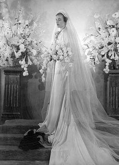 Royal bride: Lady Alice Montagu Douglas Scott (Duchess of Gloucester) on her marriage to Prince Henry, Duke of Gloucester, Buckingham Palace, Nov 1935