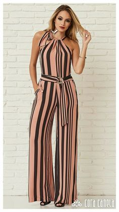 No Delays Stripe Jumpsuit Hijab Fashion, Fashion Dresses, Casual Wear, Casual Outfits, Striped Jumpsuit, Mode Hijab, Trendy Dresses, Playsuits, Jumpsuits For Women