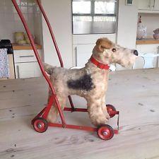 Vintage Dog On Wheels,Fox Terrier Toy Dog On Wheels.Chiltern Push Along Dog