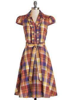 About the Artist Dress in Autumnal Plaid. Currently one of the country's most respected young talents, this delightful warm-toned dress - available for purchase in October - grew up dreaming about one day becoming a world-renowned icon. #multi #modcloth
