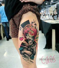 Originální tetování medved žena kytka