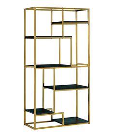 Furniture of America Jan Modern 6 Shelf Bookcase in Champagne (Beige) Dark Wood Shelves, Wooden Shelves, Glass Shelves, Display Shelves, Display Case, Shelving, Bag Display, Display Cabinets, Pipe Shelves