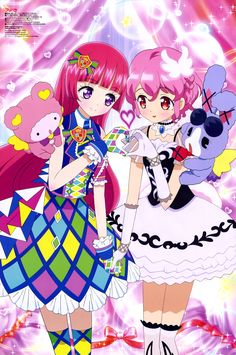 Sophie Hojou and Leona West from PriPara Hokusai, Girls With Red Hair, Anime Music, Pretty Cure, Anime Ships, Magical Girl, Mobile Wallpaper, Kawaii Anime, Anime Characters