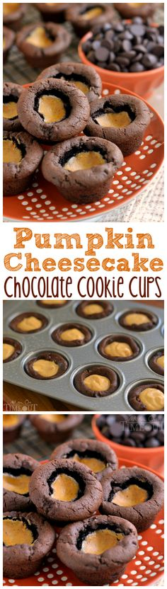 These Pumpkin Cheesecake Chocolate Cookie Cups feature a rich, chocolate cookie cup filled with creamy pumpkin cheesecake - totally divine! | MomOnTimeout.com | #pumpkin #chocolate #cookie #dessert #recipe