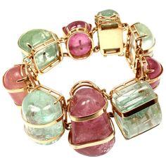 Seaman Schepps Aquamarine Pink Tourmaline Gold Bracelet