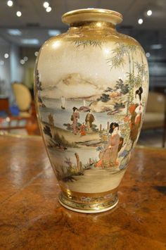 One of a Beautiful Pair Of Meiji Period Japanese Satsuma Vases (Reverse view). Japanese Vase, Japanese Porcelain, Japanese Ceramics, Japanese Pottery, Fine Porcelain, Porcelain Ceramics, Ceramic Vase, Porcelain Jewelry, Painted Porcelain