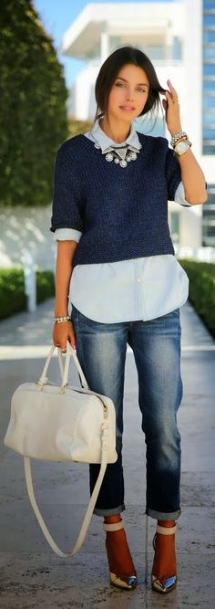 Chambray Shirt with Crop Sweater and Sexy Boyfrien...