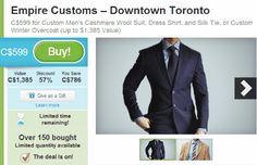 Groupon Empire Customs Suit Package or Winter Overcoat for $599 (Save 57%)