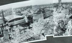 Een deel van de panoramafoto van het verwoeste Rotterdam. Klik op het linkje in het artikel om in te zoomen.