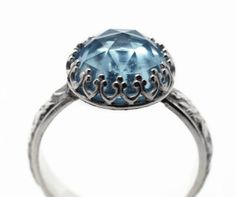 Sky Blue Topaz Ring Handmade Engagement Ring Topaz by fifthheaven, $130.00