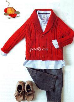 Вязание для детей. Красная кофточка