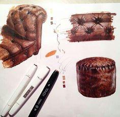 Design of Architectural Environment Interior Design Renderings, Interior Rendering, Interior Sketch, Architecture Design, Classical Architecture, Texture Sketch, Texture Drawing, Drawing Art, Sketch Design