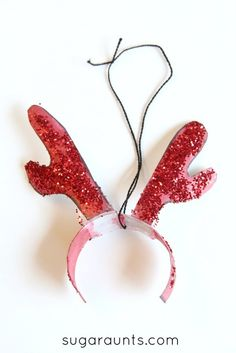 Antler Christmas ornament based on the book Olive the Other Reindeer book