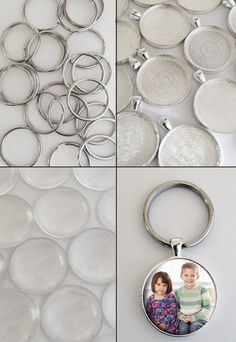Round 30mm Silver Picture Keychain Supplies Pack Makes 20