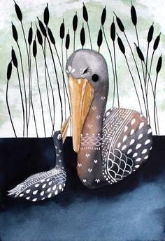 Pelikan Illustration Kunst - Aquarell - archivalische Druck 8 x 10 on Etsy, 15,25€