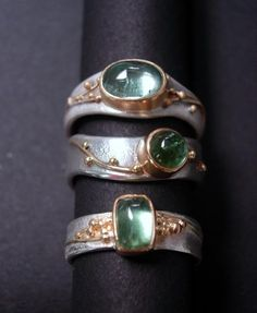 LOVE THESE GORGEOUS & QUITE UNIQUE LOOKING RINGS! - THE GREEN STONES & GOLD/SILVER COMBO, LOOKS AMAZING!