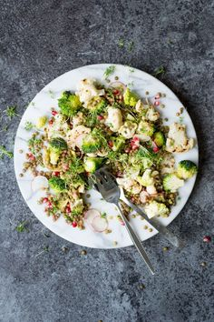 Chargrilled Cauliflower Salad with Lentils and Pomegranate