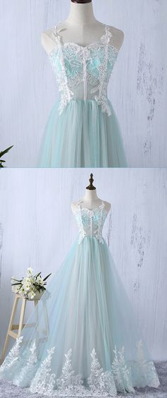 Sweetheart mint tulle long lace senior prom dress, party dress for teens #prom #dress #promdress #promdresses