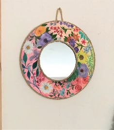 Cottagecore decorative mirror, hand painted floral country mirror, shabby wall decor boho bedroom, gypsy bohemian gift for her, round mirror Shabby Chic Jars, Shabby Chic Wall Decor, Bohemian Gypsy, Bohemian Decor, Vintage Jars, Photo Candles, Round Mirrors, Floral Wall, Gold Paint