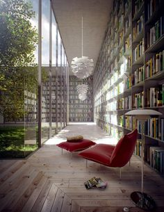 Modern Library Room Ideas by Evermotion » Library room with Courtyard