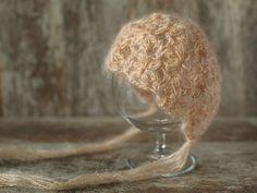Mohair Newborn Hat Beanie Mohair Crochet Bonnet Baby Girl