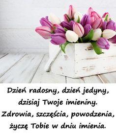 Dzień radosny, dzień jedyny, dzisiaj Twoje imieniny. Zdrowia, szczęścia, pow... - #Dzień #dzisiaj #imieniny #jedyny #Pow #radosny #szczęścia #twoje #zdrowia Birthday Wishes And Images, Happy Birthday Pictures, Wishes Images, Weekend Humor, Funny Animal Photos, Name Day, Quotations, Diy And Crafts, Birthday Cards