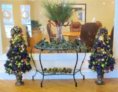 SOLD 4 1/2 ft. coordinating Holiday Tree set/Wreath