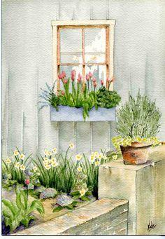 Sketch Painting, Watercolor Sketch, Watercolor Cards, Watercolor Illustration, Watercolor Flowers, Watercolor Paintings, Sketch Art, Watercolors, Landscape Art
