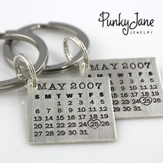 HIS and HERS Mark Your Calendar Keychains (tm) - sterling silver. $160.00, via Etsy.