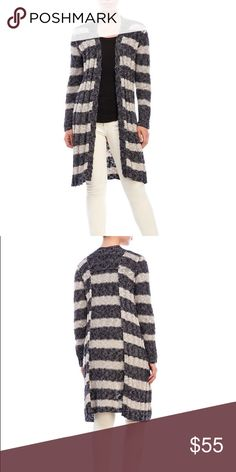 NWT* FREE PEOPLE Free Spirit Stripe Cardigan FREE PEOPLE Free Spirit Stripe Cardigan COLOR: INDIGO COMBO  Item Details: Open front, long sleeves, ribbed detailing Knit linen-blend, slouchy silhouette 65% Cotton 29% Linen 6% Nylon Hand wash cold, dry flat Imported Ladies Item #: 2461-0213 Free People Sweaters Cardigans