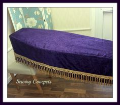 Purple velvet coffin cover with gold trim made for a local undertaker.