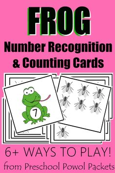 Frog Lunch FREE Number Recognition & Counting Activities is part of Frog Lunch Free Number Recognition Counting Activities - Frog themed number recognition and counting cards! Perfect for preschool kindergarten! Includes ways to play and learn with them! Frog Theme Preschool, Reptiles Preschool, Frog Activities, Numbers Preschool, Counting Activities, Preschool Printables, Preschool Kindergarten, Preschool Learning, Teaching