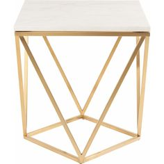 Dynamic Home Decor - Jasmine Side Table w/ White Marble on Geometric Gold Brushed Stainless Base