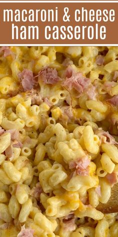 Macaroni and cheese ham casserole is asy to make, creamy, cheesy, and filled with ham. This homemade macaroni and cheese with ham is a family favorite! Ham And Noodle Casserole, Macaroni And Cheese Casserole, Ham Casserole, Mac And Cheese Recipe With Ham, Mac And Cheese Homemade, Cheap Casserole Recipes, Hotdish Recipes, Soup Recipes, Salad Recipes