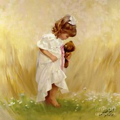 Donald Zolan - Barefoot in the Grass. Zolan was energized by his surroundings in nature. He loved the feeling of springtime with the new grass sprouting and flowers blooming. Barefoot in the Grass is a very tender painting that captures that special moment when a child first touches and feels the early morning dew with her little feet.