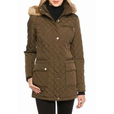 Calvin Klein Loden Front Snap Puffer Coat With Faux Fur Collar -... ($130) ❤ liked on Polyvore featuring outerwear, coats, loden, evening coat, hooded quilted coat, quilted coat, collar coat and calvin klein coats