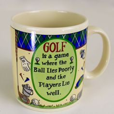 Golf Players Lie Well Poem Coffee Mug Golfing Tea Cup Fathers Day Papel Giftware #PapelGiftware