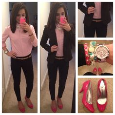 Office outfit, pink pumps ❤️