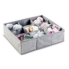 mDesign Fabric Baby Nursery Closet Organizer Bin for Clothing, Bibs, Socks, Shoes - 9 Compartments, Gray by MetroDecor $11.99