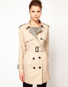 ++ kookai trench coat with contrast check detail