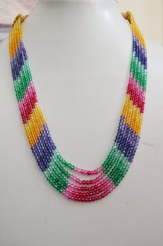 Items similar to AAA Quality 5 Strand Necklace Multi Precious Quartz Rondelle Faceted mm to 15 inch Necklace on Etsy Handmade Beaded Jewelry, Beaded Jewelry Patterns, Strand Necklace, Beaded Necklace, Beaded Bracelets, Bead Jewellery, Bead Weaving, Beautiful Necklaces, Creations