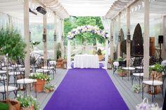 Wedding ceremony with beaufitul flower wedding arch