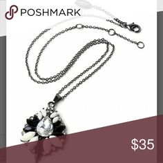JUST IN🔶️ Amrita Singh Pendant Necklace Gorgeous, black and white pendant necklace.  16in with 2in extender. Pendant 1.5in.  Lobster claw clasp.  Austrian crystal and silver plated brass. Amrita Singh Jewelry Necklaces