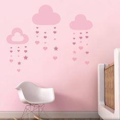 IN05| Nubes de Corazón - Comprar en Vinilo Hogar vinilo infantil para decorar dormitorios