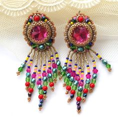 Colorful Bead embroidered earrings with fringe  Pink by Eniya, $59.00