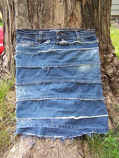 Jeans Skirt...I like the way this one is made...it's different from the traditional denim skirt...including non-Diy; like the brands being carried in stores. Great job to whoever made it.